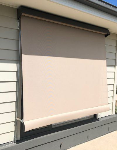 white outdoor roll up shades